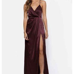 Burgundy silk maxi dress NWT